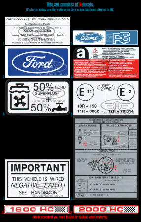 Ford Escort MK1 Restoration Decal Sticker Set